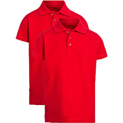 John Lewis Unisex Pure Cotton Easy Care School Polo Shirt, Pack of 2