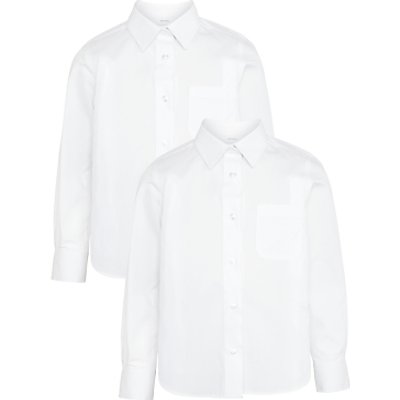 John Lewis Girls' Easy Care Button Neck Long Sleeve School Blouse, Pack of 2, White