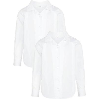 John Lewis Girls' Easy Care Open Neck Long Sleeve School Blouse, Pack of 2, White