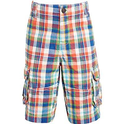 John Lewis Boys' Check Shorts, Orange/Blue