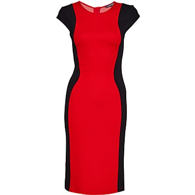 French Connection Manhattan Colourblock Dress, Royal Scarlet/Black
