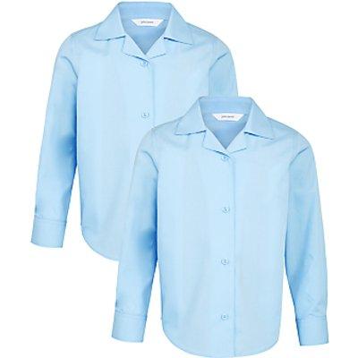John Lewis Girls' Open Neck School Blouse, Blue