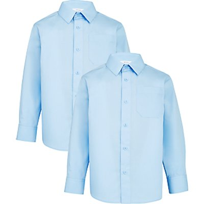 John Lewis Boys' Long Sleeve School Shirt, Pack of 2, Blue