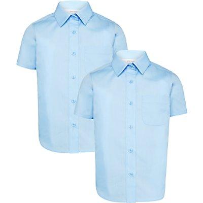 John Lewis Girls' Short Sleeve School Blouse, Blue