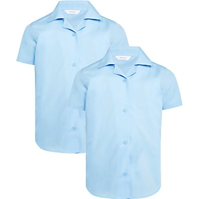 John Lewis Girls' Short Sleeve School Blouse, Pack of 2, Blue