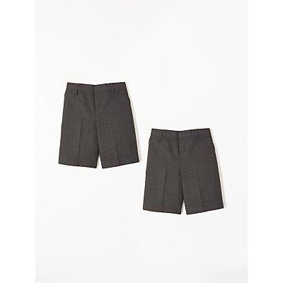 John Lewis Boys' The Basics Adjustable Waist School Shorts, Pack of 2, Grey