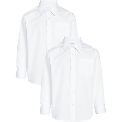 John Lewis The Basics Boys' Long Sleeved Basic School Shirt, Pack of 2, White