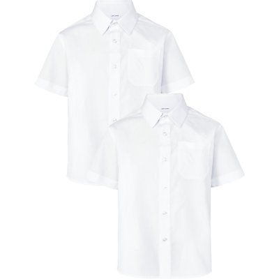 John Lewis The Basics Boys' Short Sleeve Basic School Shirt, Pack of 2, White