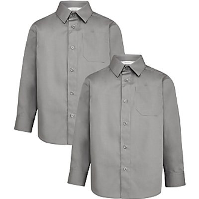 John Lewis Boys' Long Sleeve School Shirt, Pack of 2, Grey