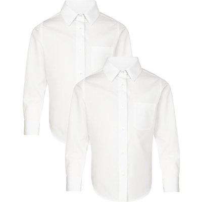 John Lewis The Basics Girls' Long Sleeve School Blouse, Pack of 2, White