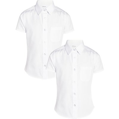 John Lewis The Basics Girls' Short Sleeve School Blouse, Pack of 2, White