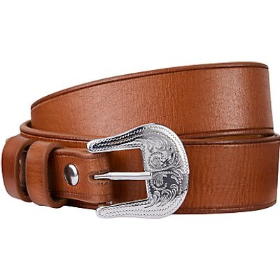 John Lewis Tasha Metal Heart Leather Jeans Belt, Tan