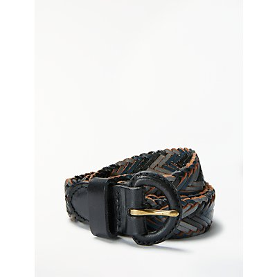 John Lewis Sianne Skinny Plaited Leather Belt, Navy/Soft Grey
