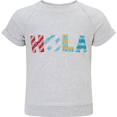 John Lewis Girls' Hola Short Sleeve Sweatshirt, Grey