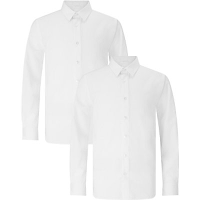 John Lewis Boys' Long Sleeve Slim Fit School Shirt, Pack of 2, White