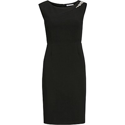 Gina Bacconi Crepe Knit Dress With Beaded Trim