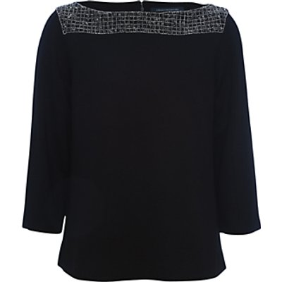 French Connection Crystal Shot Tunic Top  Black Silver - 889042102169