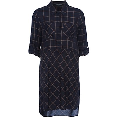 French Connection Fast Darla Dress, Utility Blue/Indian Tan
