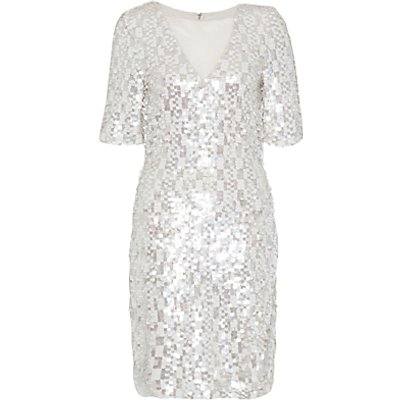 French Connection Snow Sequins Dress, Freeway Grey/Multi