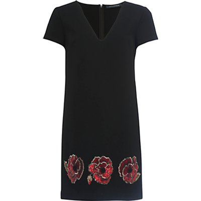 French Connection Camilla Tunic Dress, Black/Red