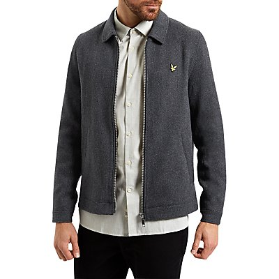 Lyle & Scott Zip Through Collar Jacket, Charcoal Marl
