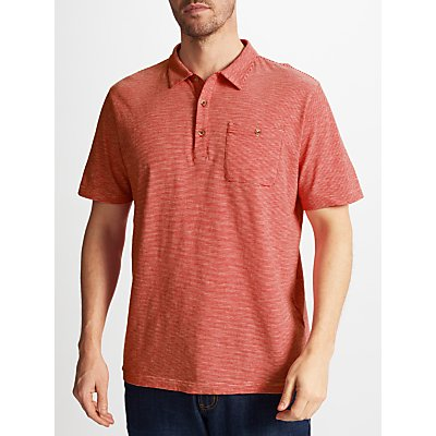 John Lewis Ticking Stripe Polo Shirt, Washed Red