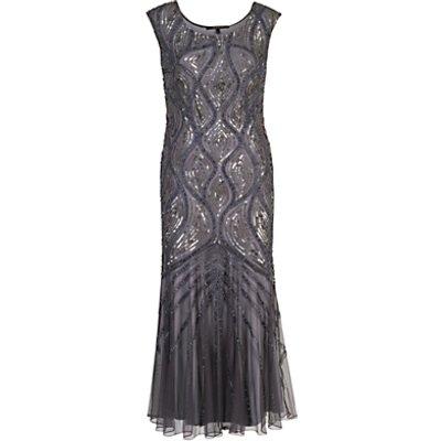 Chesca Beaded Mesh Dress, Dark Grey