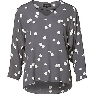 Selected Femme Hallie Printed Top, Smoked Pearl