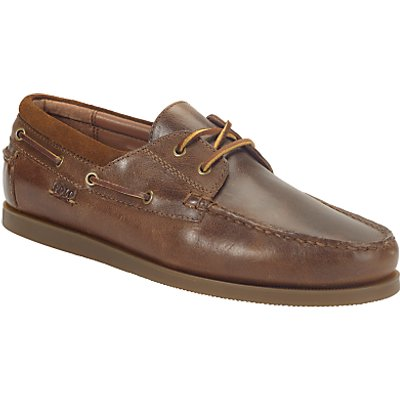 Ralph Lauren Dayne Leather Boat Shoes, Light Tan