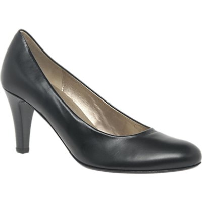 Gabor Lavender Cone Heeled Court Shoes, Black