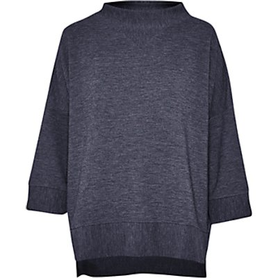 French Connection Sudan Ribbed Marl Jersey Top  Utility Blue - 887916342604