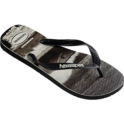 Havaianas Sea Photo Flip Flops, Black/White