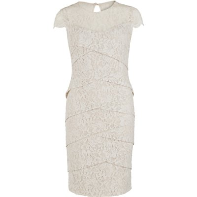 Gina Bacconi Corded Dainty Antique Dress, Beige