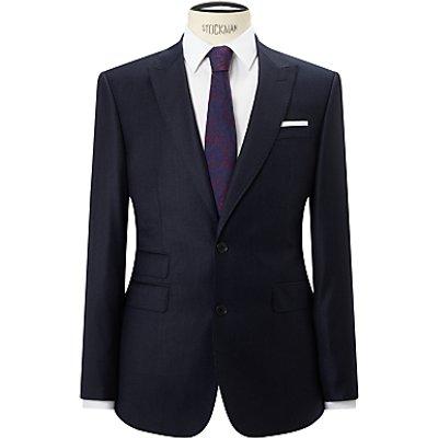 John Lewis Super 120s Wool Stripe Tailored Fit Suit Jacket, Navy