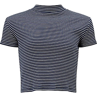 John Lewis Girls' Stripe Turtleneck Top, Navy