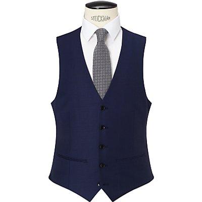 John Lewis Sharkskin Super 120s Wool Regular Fit Waistcoat, Blue