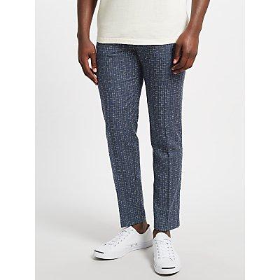 Samsoe & Samsoe Laurent Wool-Silk Checked Trousers, Blue Cross