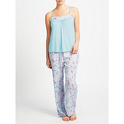 John Lewis Satin Rosehip Print Camisole Pyjama Set, Blue/Pink