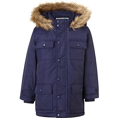 John Lewis Boys' Explored Hooded Parka Coat, Navy