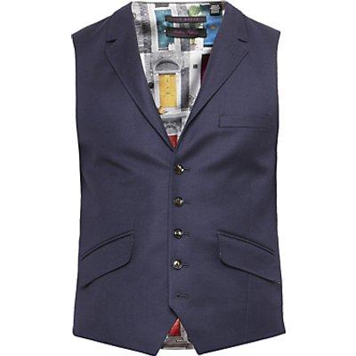 Ted Baker Chalkyw Wool Birdseye Tailored Waistcoat, Dark Blue