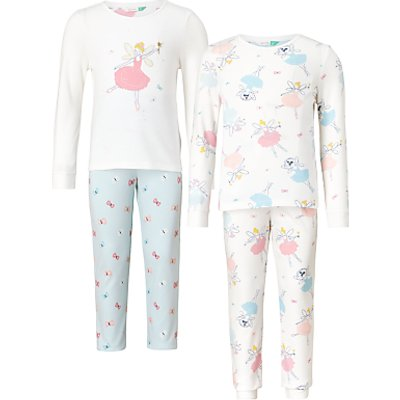 John Lewis Children's Fairy Pyjamas, Pack of 2, Pink/White