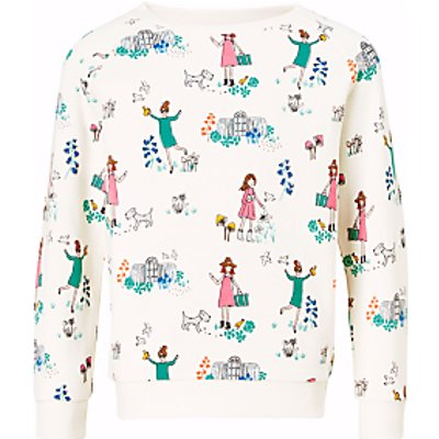 John Lewis Girls' All-Over Garden Print Sweatshirt, Gardenia