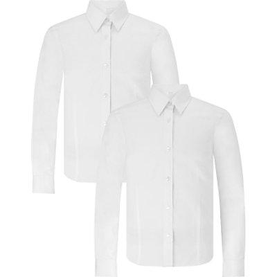 John Lewis Senior Girls' Long Sleeve Fitted School Blouse, Pack of 2, White
