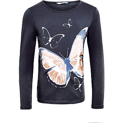John Lewis Girls' Butterfly Long Sleeve Top, Charcoal