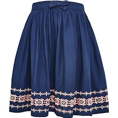 John Lewis Girls' Border Embroidery Skirt, Blue