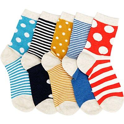John Lewis Children's Stripe and Dot Socks, Pack of 5, Multi