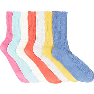 John Lewis Children's Cable Socks, Pack of 7, Multi