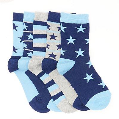 John Lewis Children's Stars and Stripes Socks, Pack of 5, Blue