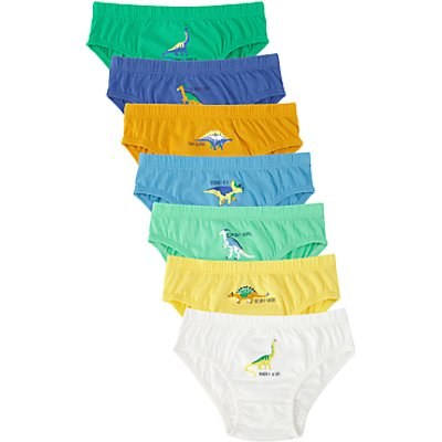 John Lewis Boys' Dinosaur Print Briefs, Pack of 7, Multi