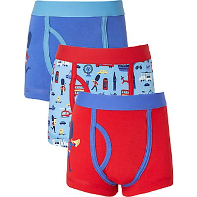 John Lewis Boys' London Print Trunks, Pack of 3, Blue/Red